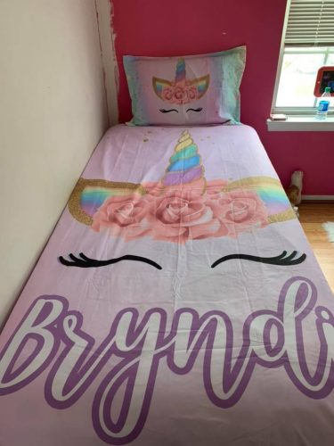 Personalized Cute Unicorn Lash Bedding Set photo review